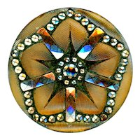 Button--Late 19th C. Pressed Lacy Glass 5-ray Silver Luster Star on Bronze Back Paint