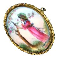 Brooch--Late 19th C. Kate Greenaway Style Painted Porcelain Young Girl at Flowering Tree