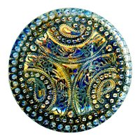 Button--Large Late 19th C. Lacy Glass Trefoil Design in Dark Blue and Gold Luster