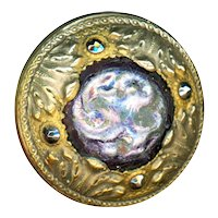 Button--Large Late 19th C. Celluloid Jewel in Brass with Cut Steels