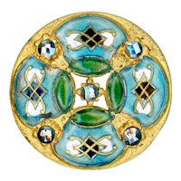 Button--Large Late 19th C. Neo-Renaissance Quatrefoil Champleve Enamel & Mirror Steels