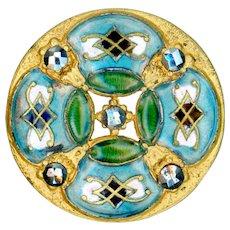Button--Large Late 19th C. Neo-Renaissance Quatrefoil Champleve Enamel & Mirror Steels