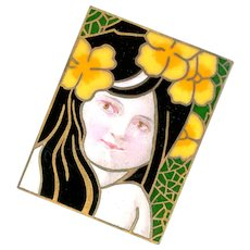 Button--Post-impressionist Large Rectangular Enamel Exotic Girl