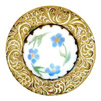 Button--Large Late 19th C. Hand Painted Forget-me-nots on Milk White Glass in Brass