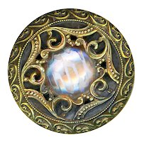 Button--Late 19th C. Pressed Iridized Glass in Rococo Motif Brass
