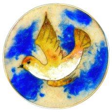 Button--Extra Large Vintage Cloisonne Enamel Bird in Flight in Brass