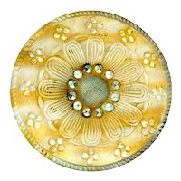 Button--Large Late 19th C. Silver and Yellow Striped Lacy Glass Daisy
