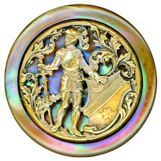 Button--Very Large Late 19th C. Open Work Brass on Wildly Iridescent Pearl King Arthur
