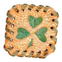 Button--Large Vintage Hand Worked Leather Square Shamrock or Clover