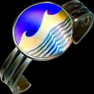 Cuff Bracelet--Vintage Correia Art Glass Ocean Wave in Heavy Sterling Silver