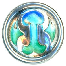 Button--Arts & Crafts Enamel on Sterling Silver--Medium