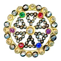 Button--Late 19th C. Open Work Brass and Cut Steels with Rhinestones
