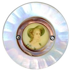 Button--Large Late 19th C. Lithograph Lady Under Celluloid in Compound Pearl