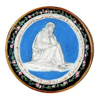 Button--Large 18th C. Georgian Monochrome Figure Under Glass in Rosebud Border