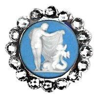 Button--18th C. Georgian Period Jasperware Nymph & Cherub on Dolphin Medium Steel