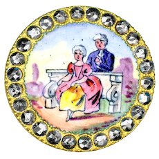 Button--Late 19th C. Emaux Peints Enamel Aristocratic Lady and Her Confessor in Cut Steels