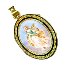 Locket--Ethereal Enamel Lady in Clouds with Glass Compartment