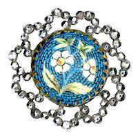 Button--Late 19th C. Faux Micromosaic Glass in Brass with Reticulated Steel Border--Medium