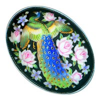 Brooch--Large Vintage Toshikane Arita Porcelain Peacock in Pin Roses