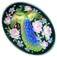 Brooch--Large Vintage Toshikane Arita Porcelain Peacock in Pin Roses
