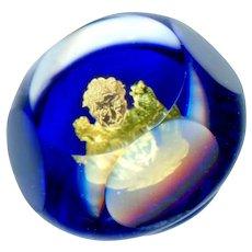 Button--Modern Artisan Cobalt Blue Paperweight Foil Card Dealer, Monkey and Owl