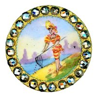 Button--Late 19th C. Bathing Beauty with Fish Dip Net in Cut Steels Medium
