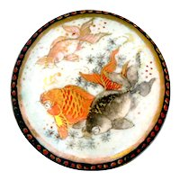 Button--Late 19th C. Japanese Satsuma Koi in Three Colors--Medium