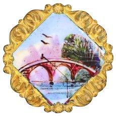 Button--Late 19th C. Modified Square Emaux Peints Enamel Fisherman on Red Bridge--Medium