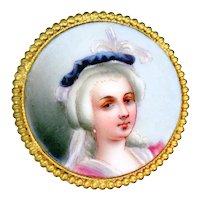 Button--19th C. Hand Painted (Mixtion) Wafer Thin Porcelain Lady in Feather Aigrette in Brass