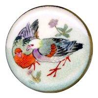 Button--Late 19th C. Pillow Shape Japanese Satsuma Pottery Pigeons--Medium