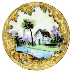 Button--Large Late 19th C. Hand Painted Enamel Riverside Cottage