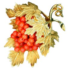 Brooch--Large Vintage Nettie Rosenstein Natural Coral Bead Grapes and Leaves