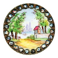 Button--Very Large Late 19th C. Emaux Peints Enamel Rustic Cottage in Cut Steels