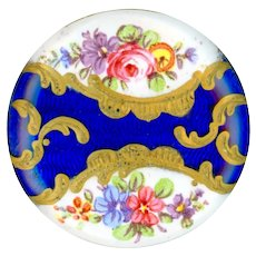 Button--18th C. Georgian Battersea Enamel in Cobalt Guilloche with Flowers--Medium