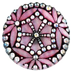 Button--Late 19th C. Pressed Lacy Glass Hexagons in Silvery Pink