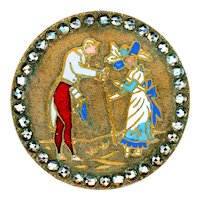 Button--Large Late 19th C. Open Champleve Enamel French Fops in Cut Steels