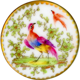 Button--Large 18th C. Georgian Hand Painted Porcelain Birds with 4-way Modeled Shank