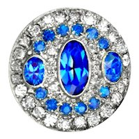 Button--Late 19th C. Bright Sapphire Blue Glass Jewel in Brass