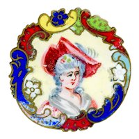 Button--Late 19th C. Enamel Portrait of Lady in Big Feathered Red Hat