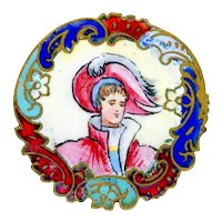 Button--Late 19th C. Hand Painted and Champleve Enamel Renaissance Boy