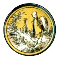 Button--Mid-19th C. Transfer Porcelain Fable of Crane and Thirsty Wolf