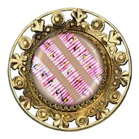 Button--Large Late 19th C. Open Work Border Silver Ribbon Under Glass