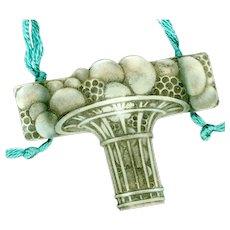 Necklace--1920 Signed Lalique Glass Pendant on Cord--Panier de Fruits