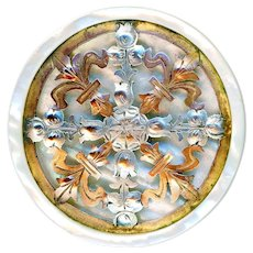 Button--Large Early 1800s Hand Engraved, Cut, and Pierced Copper and Silver-plate Quatrefoil on Pearl