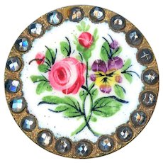 Button--Pretty Late 19th C. Enamel Rose and Pansy on Brass with Cut Steel Border