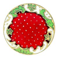 "Button--Late 19th C. Champleve Enamel ""Strawberry Red""--Medium"