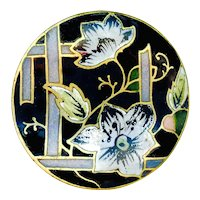 Button--Late 19th C. Champleve Enamel Clematis Blooms on Trellis--Medium