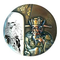 Button--Large 19th C. Japanese Shakudo Man Who Sees Woman Reflected in His Mirror