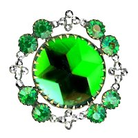 Button--Very Fine Late 19th C. Mirror-back Green Glass Star in Cut Steels & Smaller Jewels