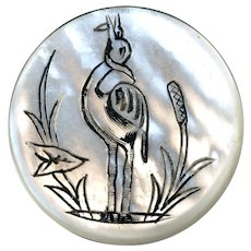 Button--Early 19th C. Engraved Pearl Heron Eating Snake--Medium